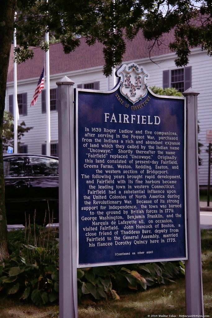Fairfield Connecticut Blue Marker Sign