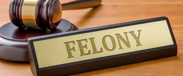 felony bail bonds- court gavel with sign saying felony