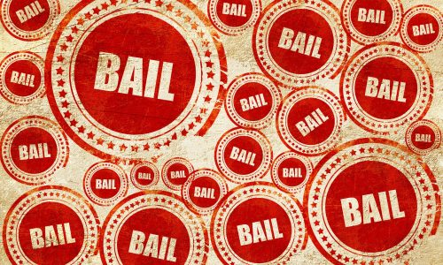 bail, red stamp on a grunge paper texture
