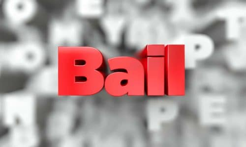 Bail -  Red text on typography background - 3D rendered royalty free stock image. This image can be used for an online website banner ad or a print postcard.